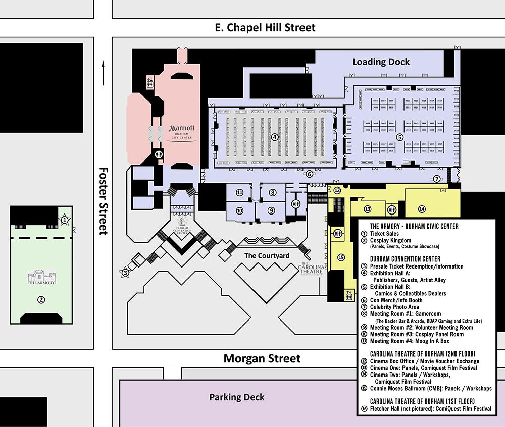 nccomicon bull city Civic Center map